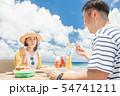 海外旅行 海の見えるレストラン 人物 ランチ 食事 54741211