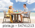 海外旅行 海の見えるレストラン 人物 ランチ 食事 54741213