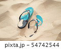Beach slippers in the desert, sand dunes. 54742544