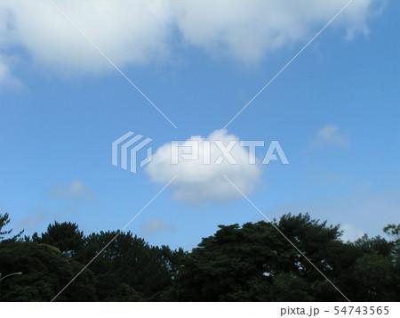 夏の青空と白い雲 54743565