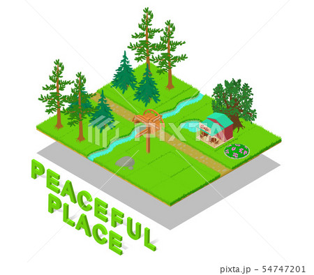 Peaceful place concept banner, isometric style 54747201