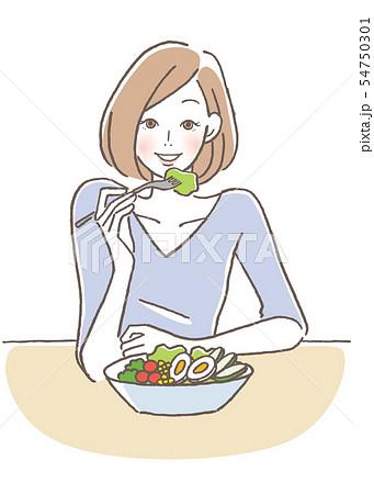 サラダを食べる女性 54750301