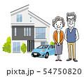 シニア夫婦:家、一軒家、一戸建て、自動車 54750820