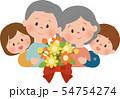 祖父母と孫 花束 54754274