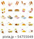 屋台の食べ物と日本のポピュラーなメニューセット 54755049
