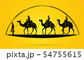 Camel tour with guide cartoon graphic vector. 54755615