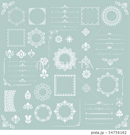 Vintage Set of Vector Horizontal, Square and Round Elements 54756162