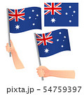 Australia flag in hand set 54759397