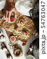 Watermelon slice cookies recipe on background.. 54763047