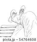 Sketch of a man sitting at a public chair separate 54764608