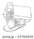 Shoe boxes with sneakers sketch on white. 54764609