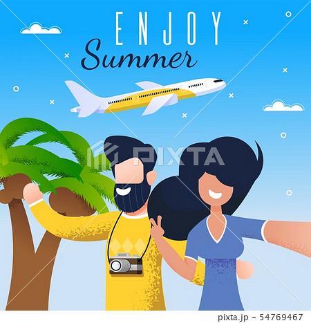 Enjoy Summer Vacation Trip Flat Vector Banner 54769467