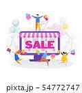 Joyful customers on sale in the online store 54772747