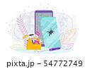 Mobile phone with a broken screen. Repair of mobile phones 54772749