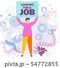 Man raises his job search banner above his head 54772855