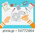 Workplace of a design engineer. Flat vector illustration. 54772864