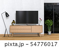 3D rendering of interio living room with Smart TV 54776017