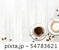 カフェでコーヒーとカフェラテ 背景 イラスト 水彩 54783621