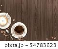カフェでコーヒーとカフェラテ 背景 イラスト 水彩 54783623