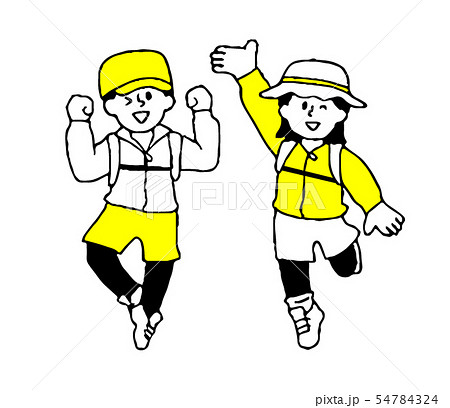 登山・ハイキングにきた男性女性(シンプル) 54784324
