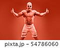 Charismatic Muscular athletic man jump naked torso 54786060