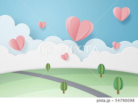 ペーパークラフト-空-雲-大地-ハート 54790098