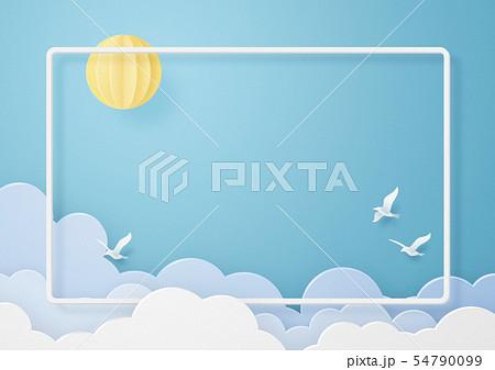 ペーパークラフト-空-雲-鳥-フレーム 54790099