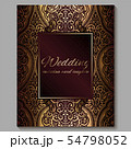 Wedding invitation card with gold shiny eastern 54798052