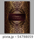 Wedding invitation card with gold shiny eastern 54798059