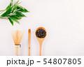 vintage Green tea leaf isolated on white 54807805