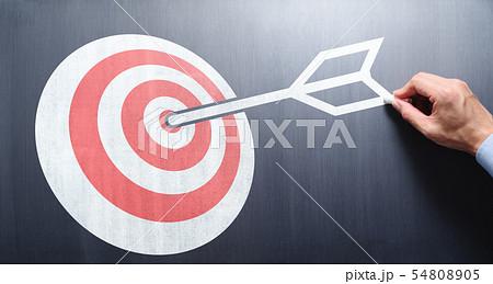 仕事の目的とビジョンのイメージ。的と矢を黒板に描く男性の手。 54808905