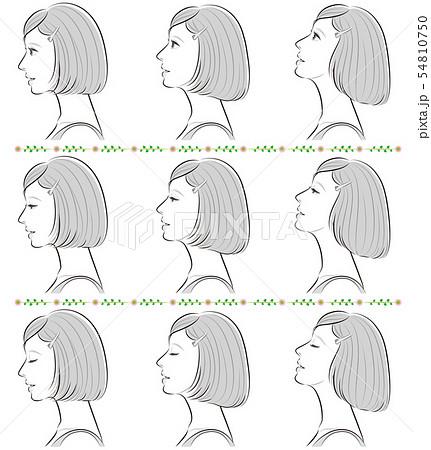 女性の横顔の表情イラスト 54810750