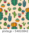 Cactus home nature vector illustration of green plant cactaceous tree with flower seamless pattern 54810842