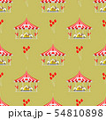 Circus show entertainment tent marquee outdoor festival seamless pattern with stripes and flags 54810898
