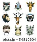 Animal head in headphones animalistic character in earphones or headset listening to music 54810904