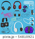 Headphones illustration headset to listen to music for dj and audio earphone devices illustration 54810921