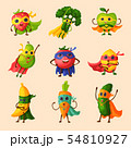 Superhero fruits fruity cartoon character of expression vegetables with funny super hero apple 54810927