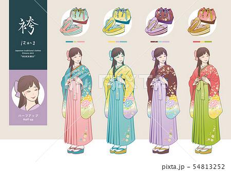 袴姿の女性と、草履・巾着袋のベクターイラストセット 54813252