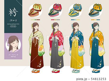 袴姿の女性と、草履・巾着袋のベクターイラストセット 54813253