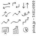 矢印やグラフのアイコンセット 手描き風 54814969