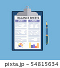 Clipboard with balance sheet and pen. 54815634