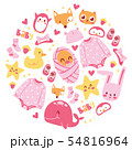 Baby shower illustration. Newborn girl arrival and shower collection with accessories for kid. It s 54816964