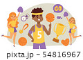 Basketball player bouncing ball in the gym with cheerleaders illustration. Smiling girls, boy in 54816967