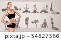 Sporty young woman doing yoga practice, creative collage 54827366