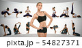 Sporty young woman doing yoga practice, creative collage 54827371