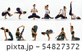 Sporty young woman doing yoga practice, creative collage 54827372