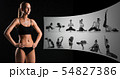 Muscular young woman athlete on black, creative collage 54827386