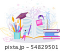 Graduate cap on books. Education vector concept on white background. 54829501