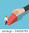Isometric hand arranging wood block stacking as 54838765