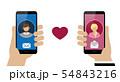 online dating between woman and man via smartphone 54843216